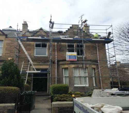 roof replacement edinburgh using a safe platform